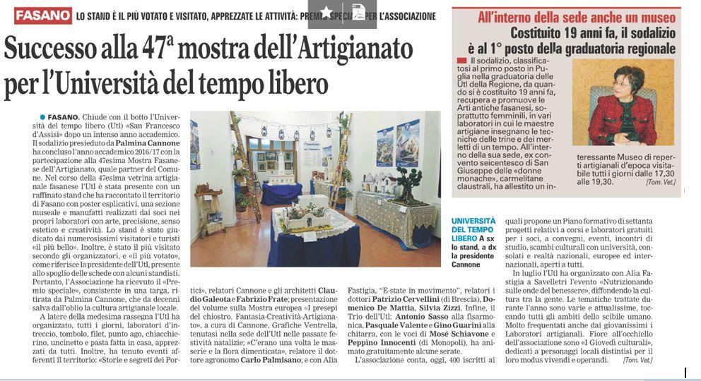 Read more: Successo alla 47° mostra dell'artigianato fasanese